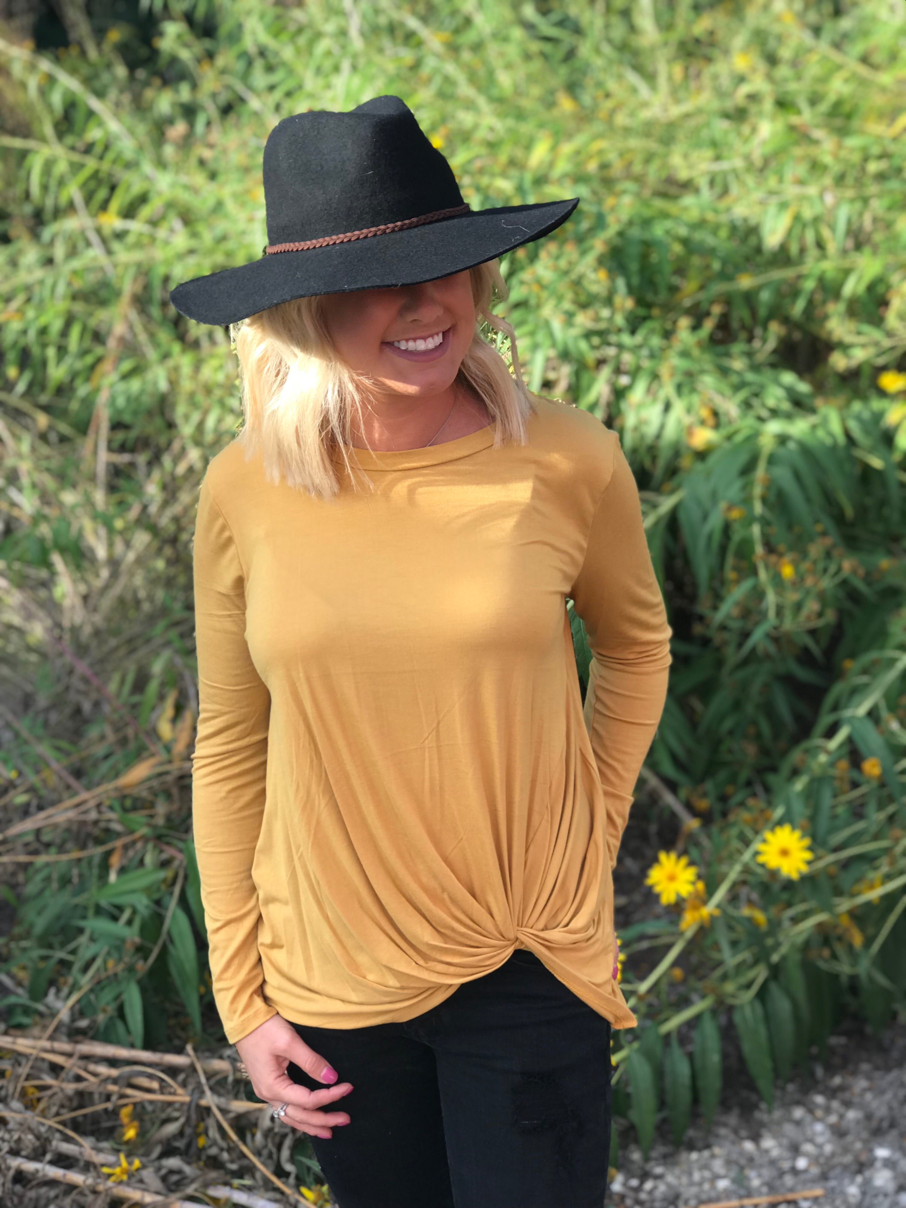 Mustard Front Knot Basic Top