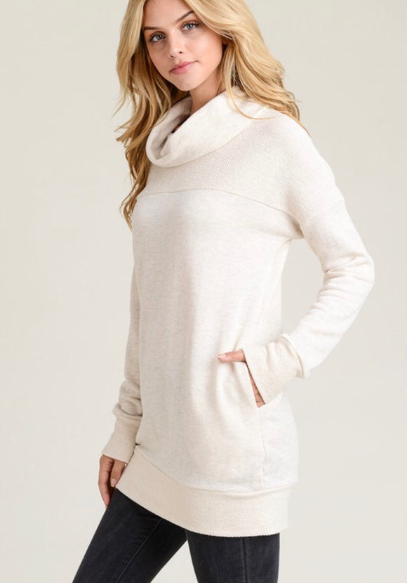 Oatmeal Cowl Neck Tunic Sweatshirt