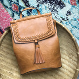 Faux Leather Tassel Detail Backpack