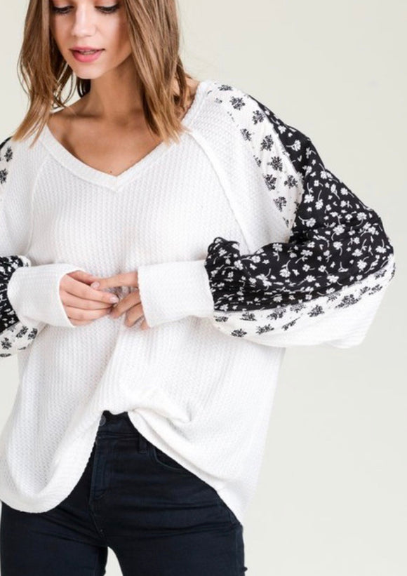 Bright White Waffleknit Statement Sleeve Top