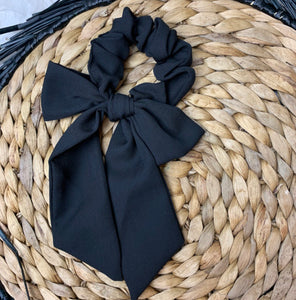Black Silk Bow Scrunchie