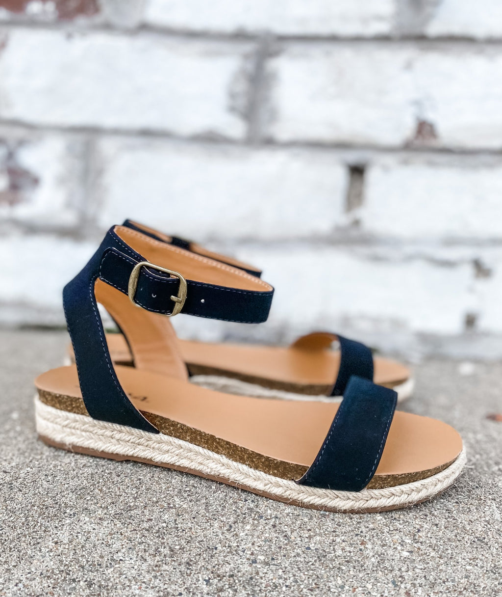 Black Platform Wedge Sandal