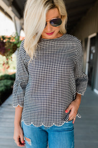 Gingham Top with Scallop Edges