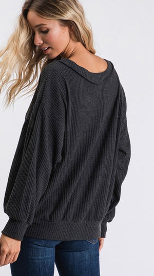 Charcoal Wide V-Neck Waffleknit Top