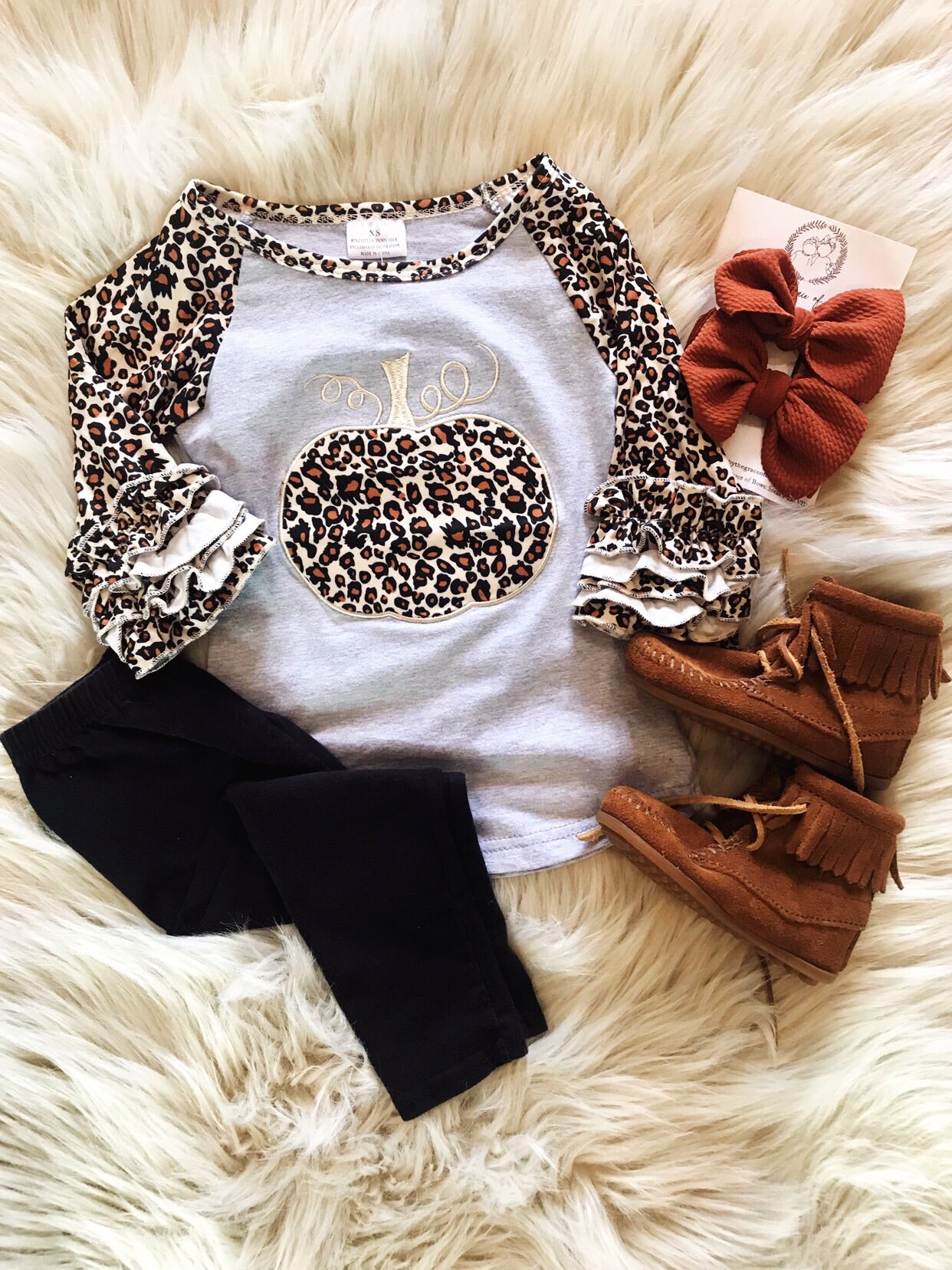 Leopard Pumpkin Ruffle Detail Top