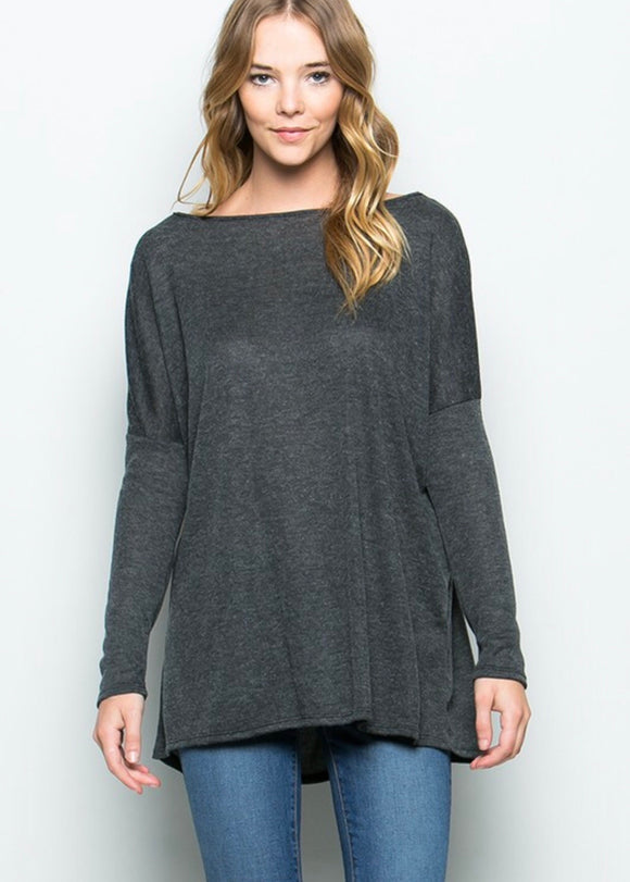 Charcoal Knit Tunic Top