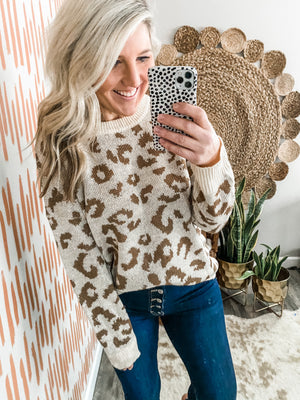 Ivory & Camel Leopard Sweater