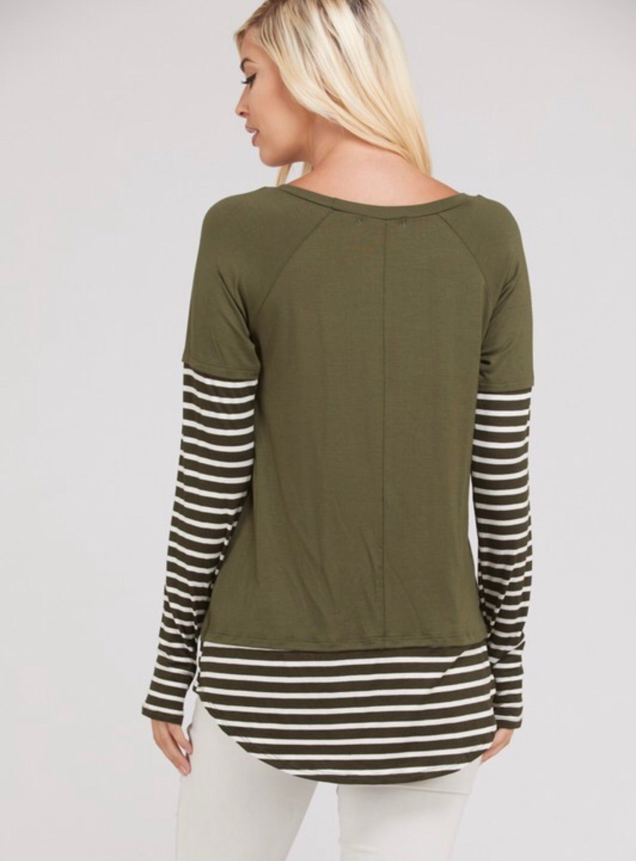 Olive Striped Contrast Top