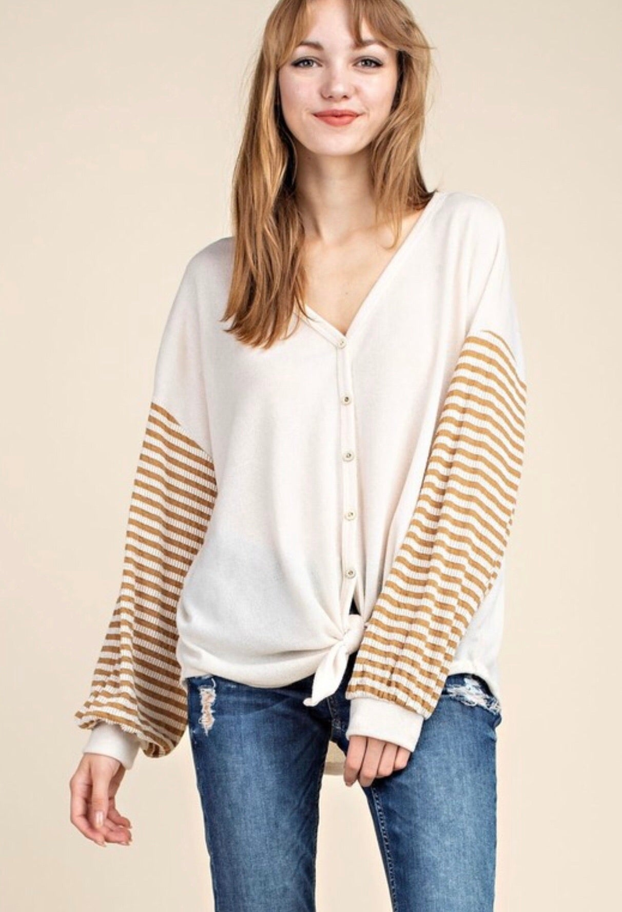 Mustard Striped Knotted Top