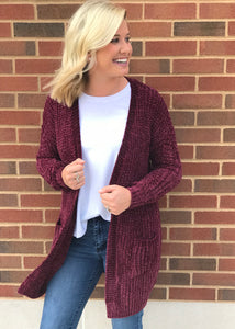Burgundy Chenille Pocket Sweater
