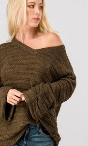 Olive Striped Loose Fit Sweater