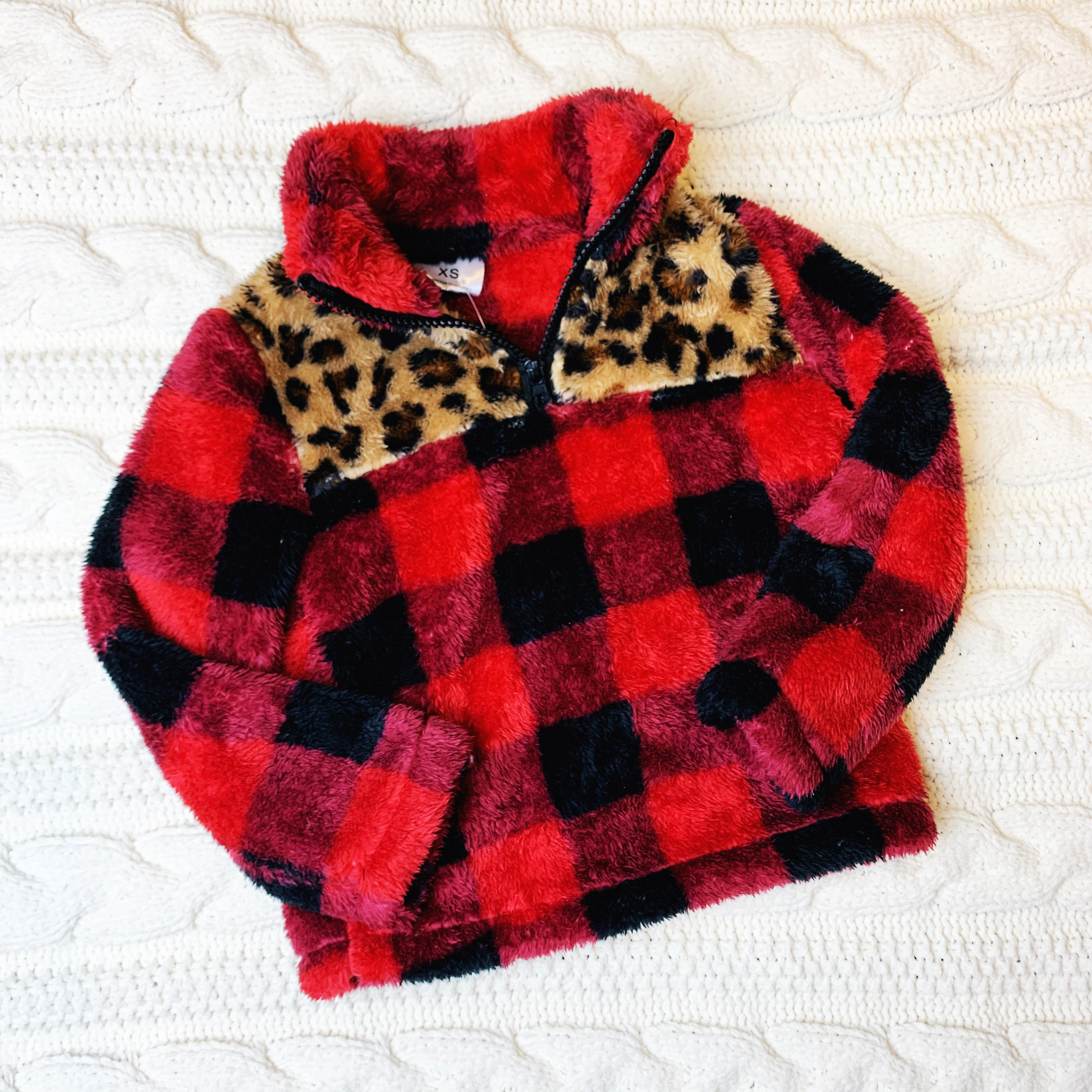 Buffalo Plaid & Leopard Detail Fleece