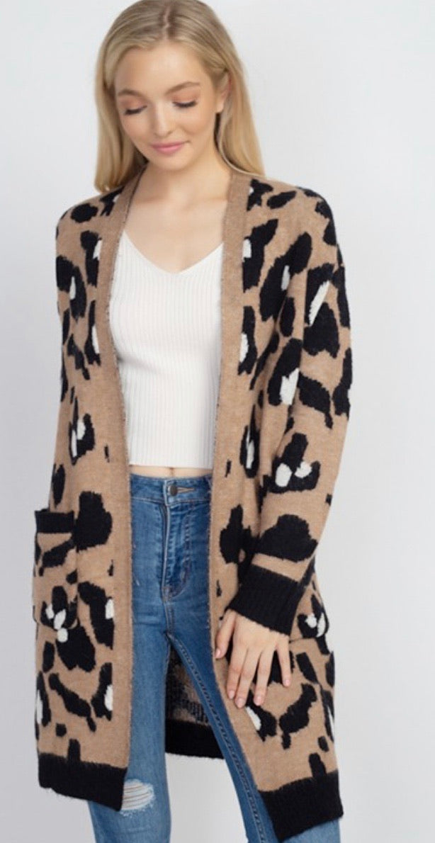Mocha Leopard Pocket Cardigan
