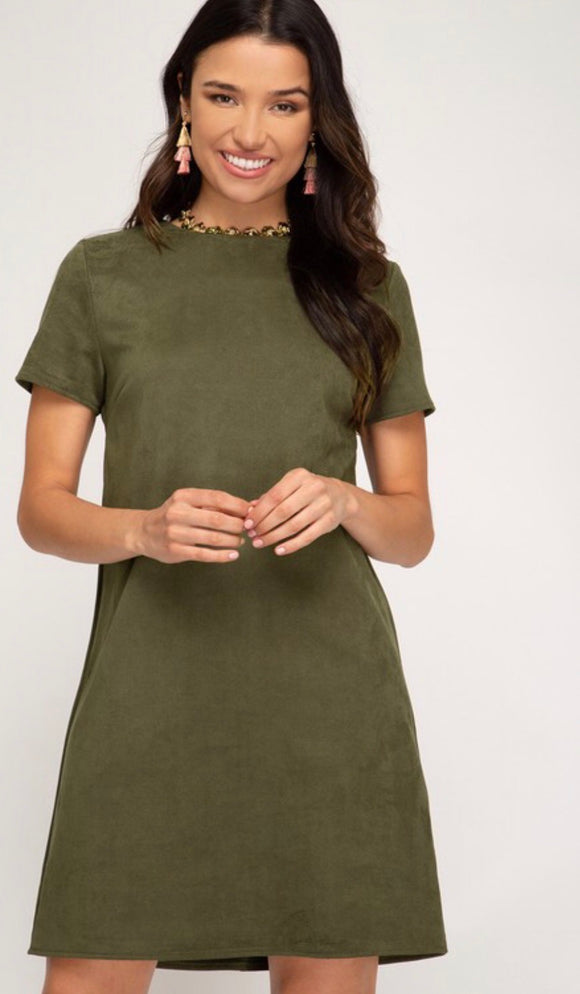 Olive Twill Faux Suede Shift Dress