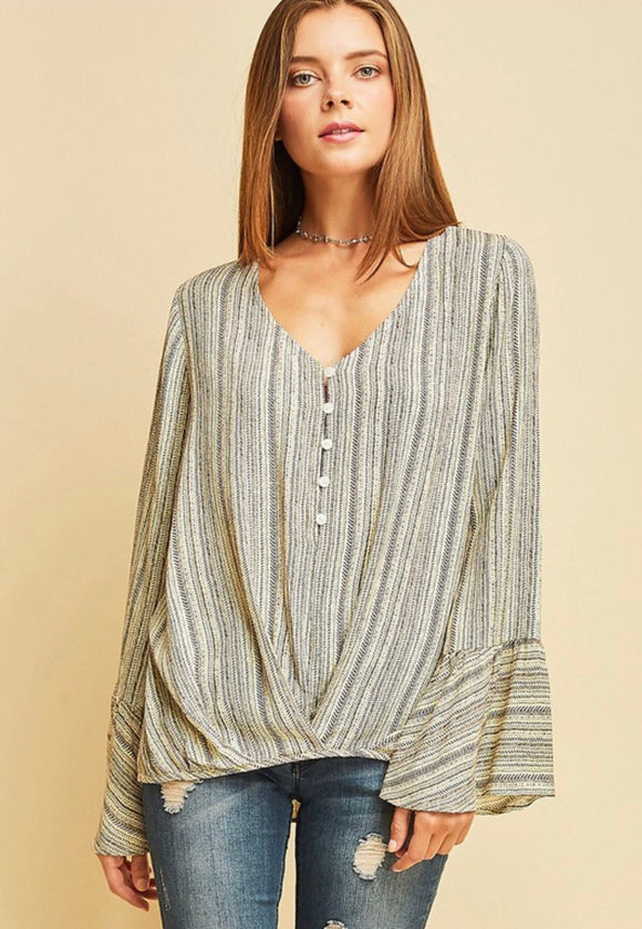 Ivory Striped Wrapped Front Top