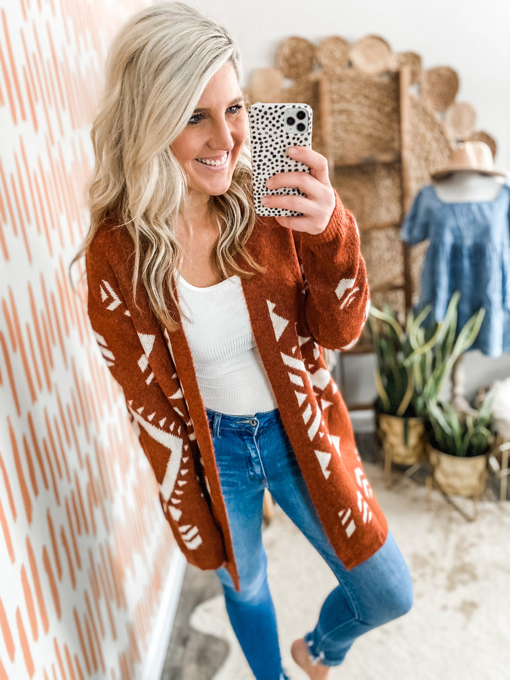 Cinnamon Tribal Print Cardigan