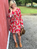 Red Floral Tie Waist Dress