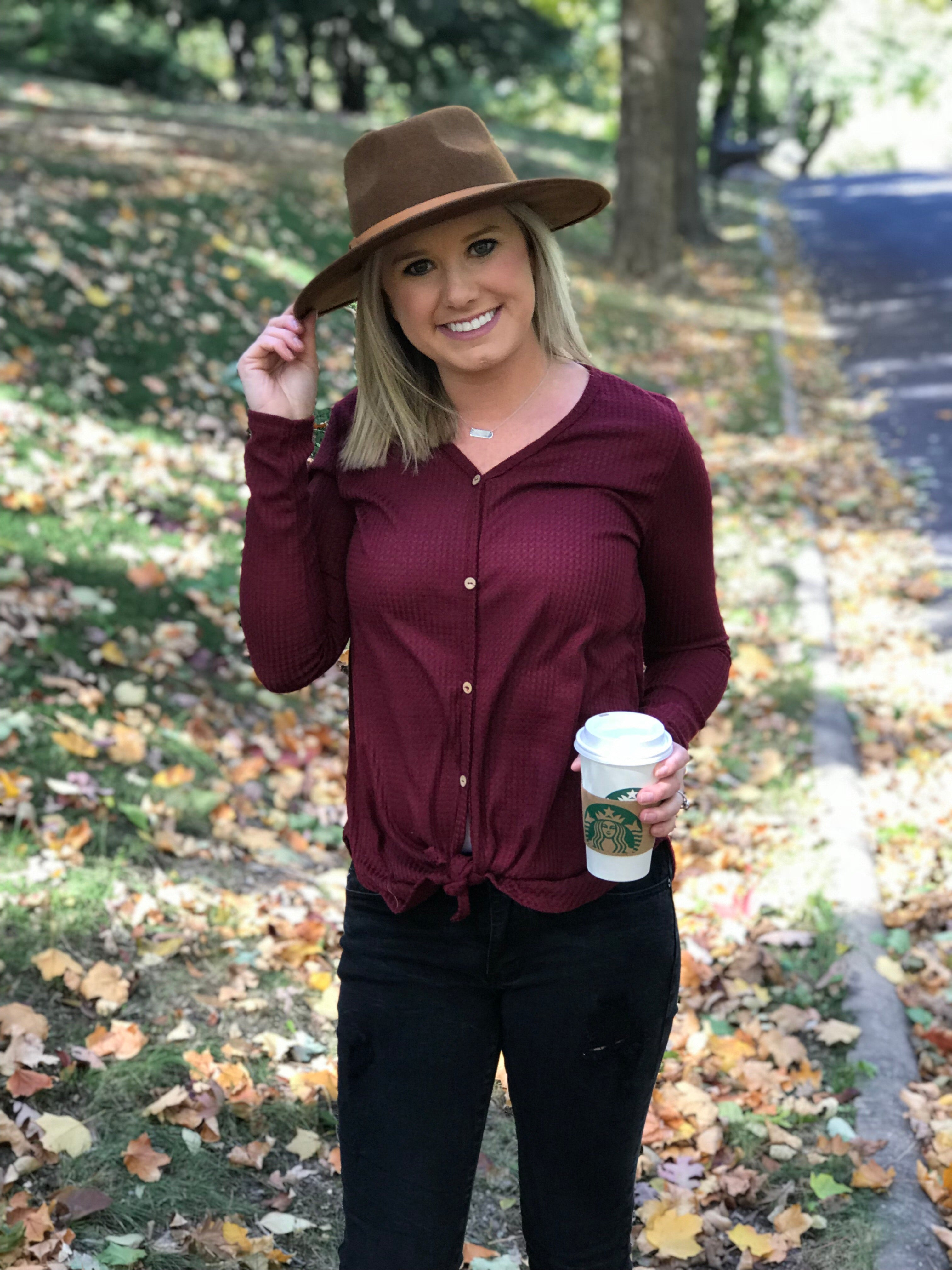 Wine Thermal Knotted Top