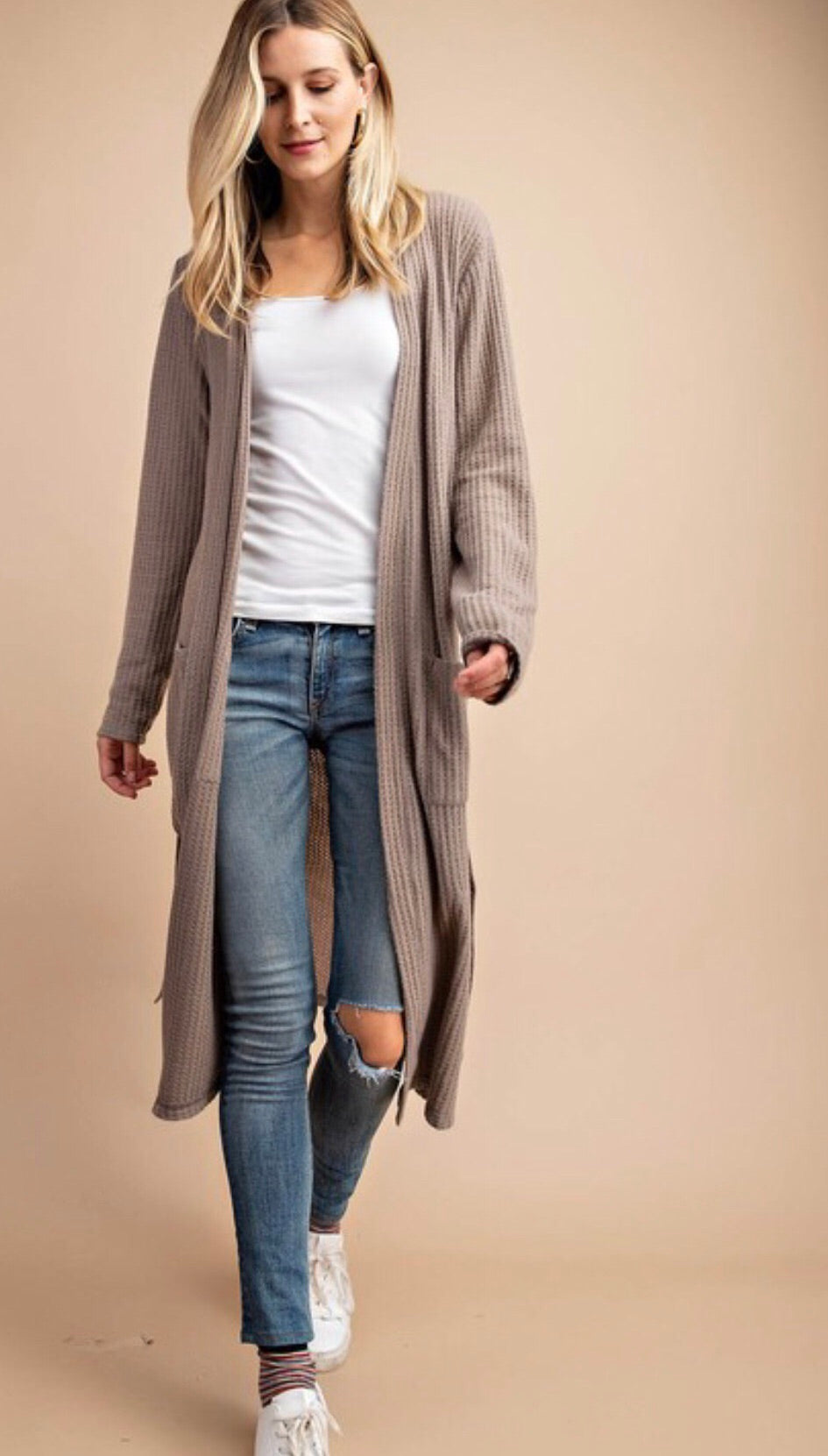Mocha Brushed Waffleknit Cardigan