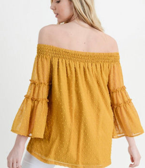 Mustard Swiss Dot Off The Shoulder