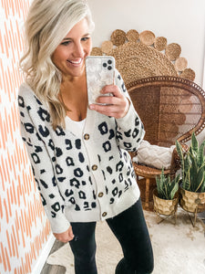 Taupe Oversized Leopard Button Cardigan