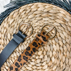 Black or Leopard Gold Detail Belt