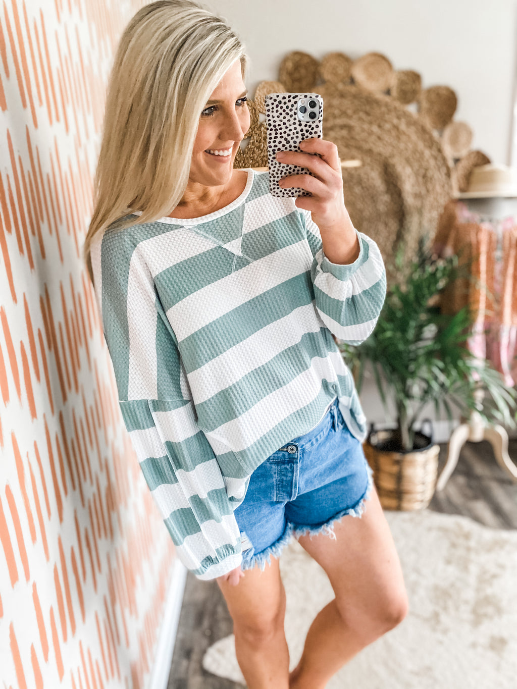 Sage Striped Waffleknit Top