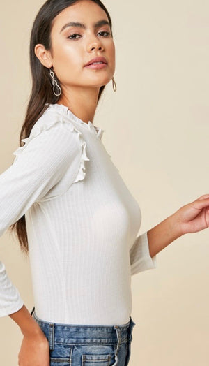 White Ribbed Ruffle Mock Top