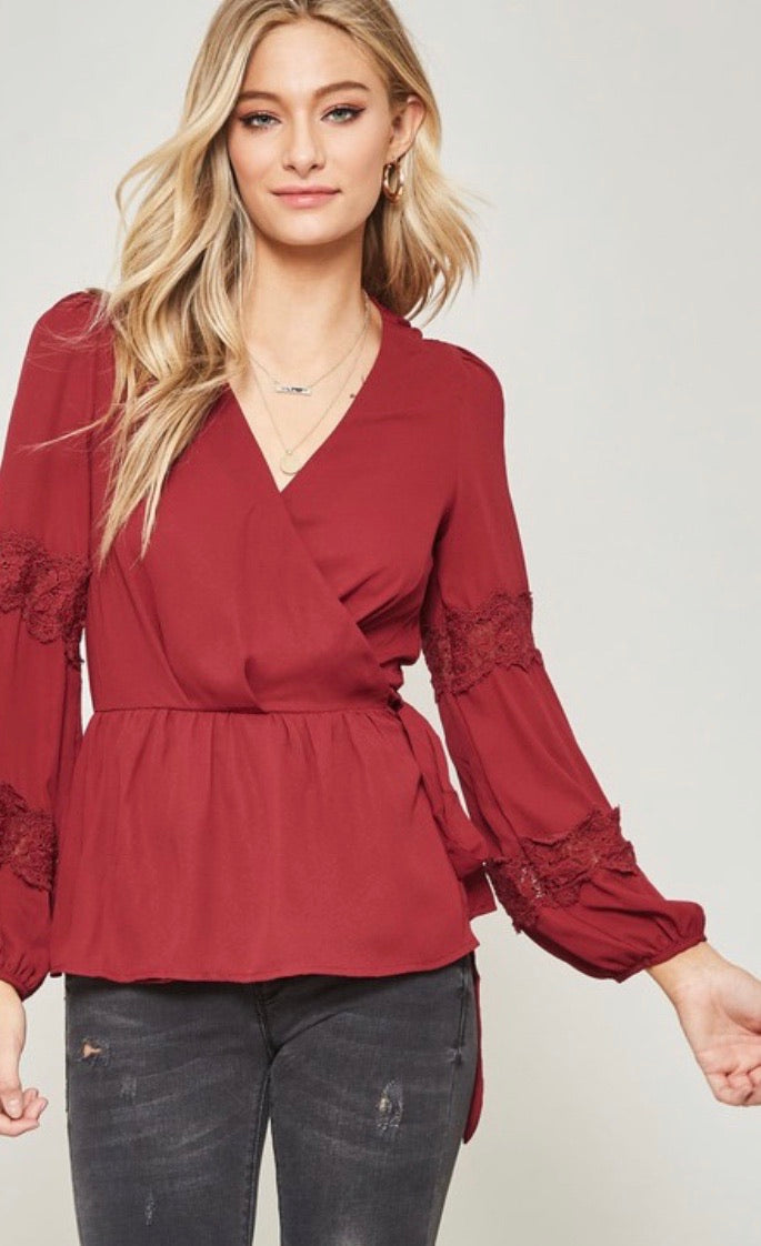 Wine Lace Trimmed Peplum Wrap Top