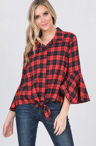 Buffalo Plaid Bell Sleeve Blouse