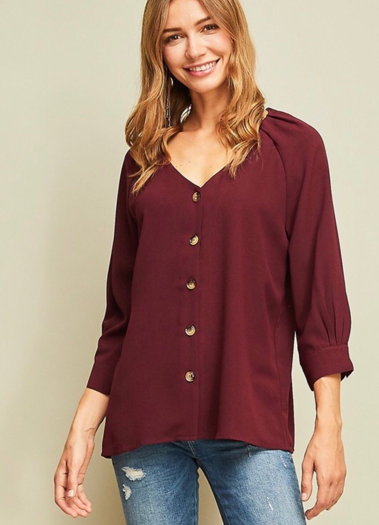 Burgundy Button Up Blouse