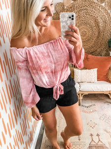 Blush Tie Dye Off the Shoulder Top