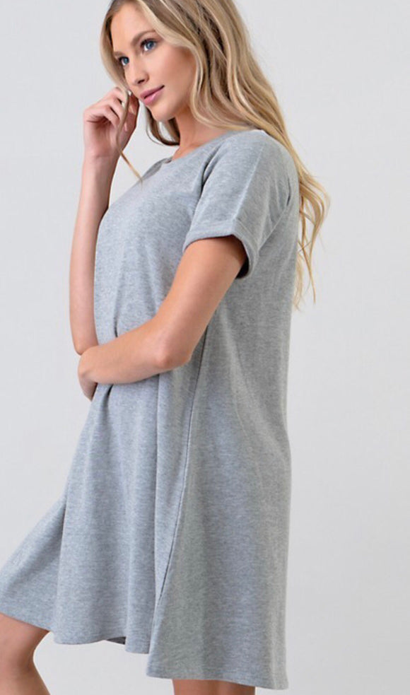 Light Grey French Terry Swing Dress