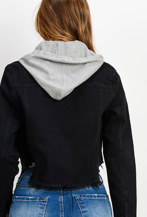 Black Raw Hem Hooded Denim Jacket