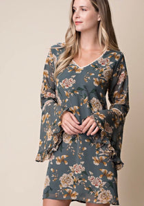 Dusty Green Floral Print Shift Dress