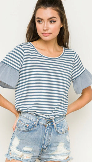 Light Blue Mixed Striped & Ruffle Sleeve