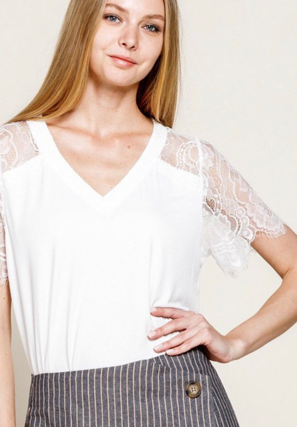 White Lace Detailed Short Sleeve Top