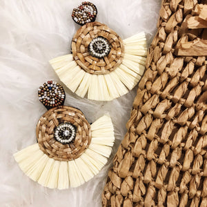 Ivory Twine & Tassel Earrings