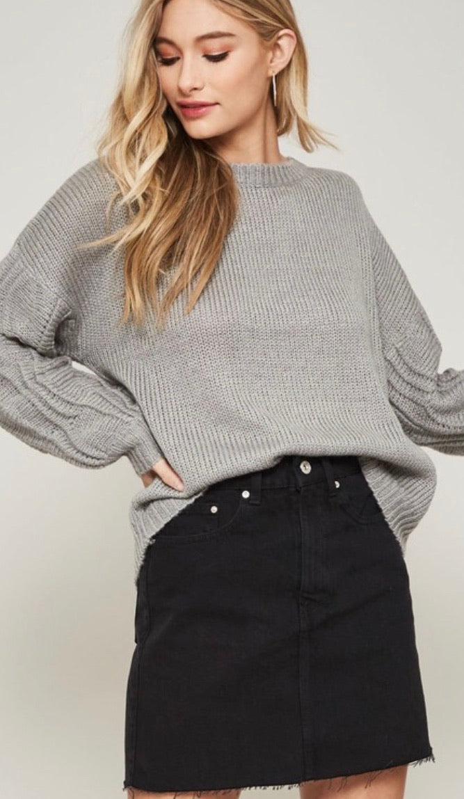 Grey Detailed Balloon Sleeve Sweater