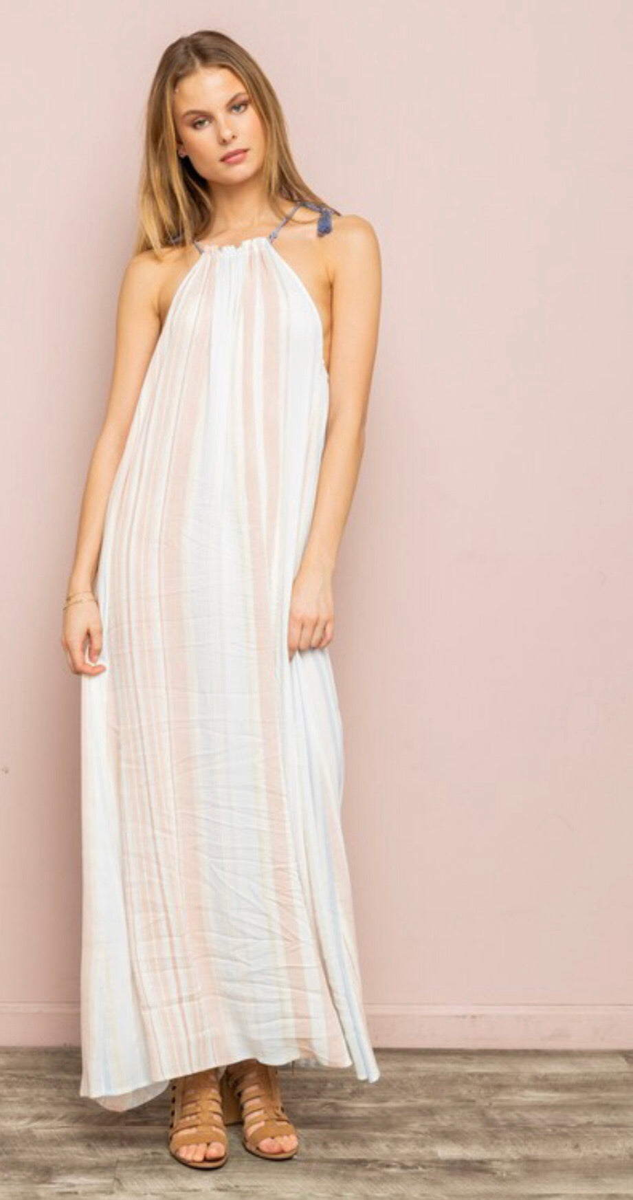 Tassel Tie Halter Maxi Dress