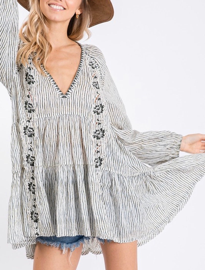 Ivory Striped & Embroidered Tunic