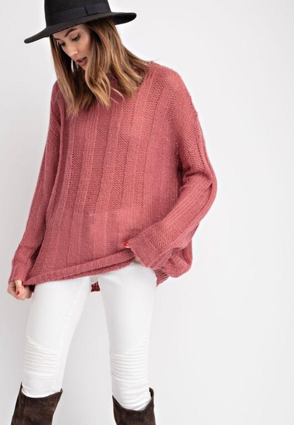 Dried Rose Knitted Oversized Sweater