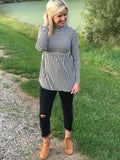 Black/White Striped Peplum Tunic Top