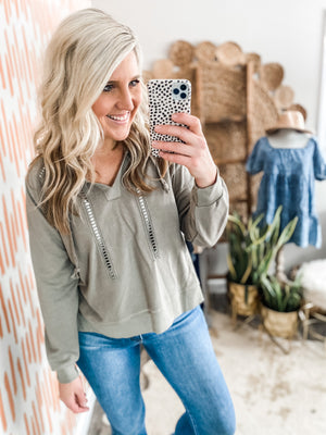 Light Olive Cropped Sweatshirt