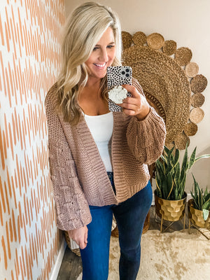 Dusty Pink Balloon Sleeve Cardigan