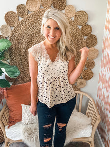 Dotted Lace Detail Blouse