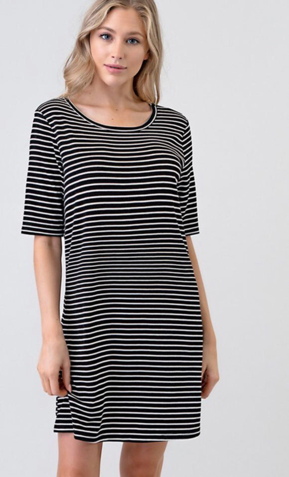 Black/White Striped Loose Fit Dress
