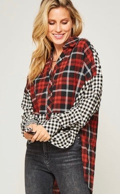 Plaid & Checkered Button Down Top