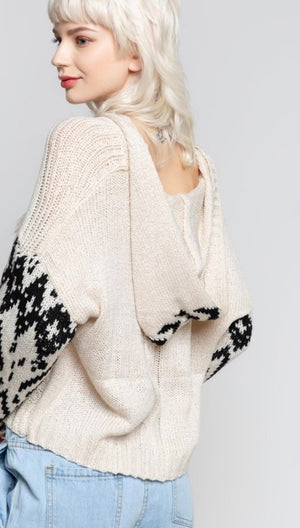 Beige/Black Boho Pullover Cropped Sweater