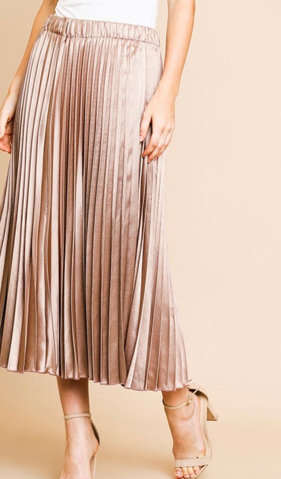 Mocha Shimmer High Waisted Midi Skirt